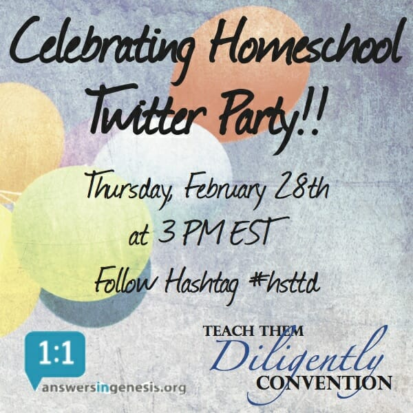 Celebrating Homeschool Twitter Party Answers in Genesis and Teach Them Diligently Convention