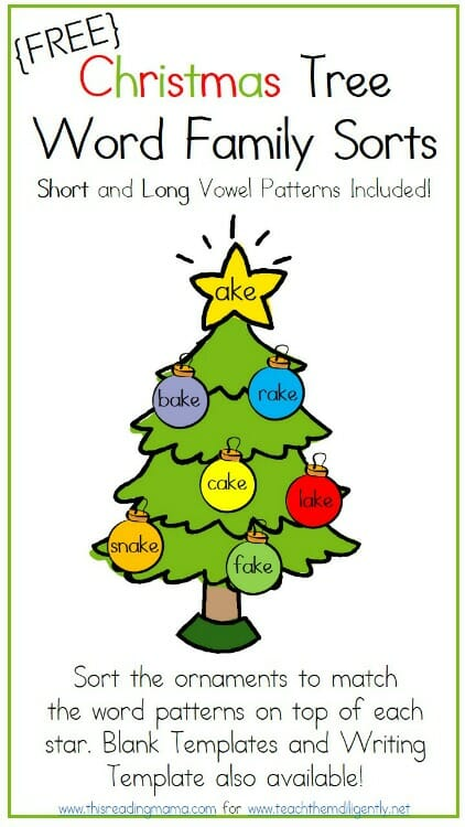 FREE Christams Tree Word Family Sorts for Short and Long Vowels | Teach Them Diligently
