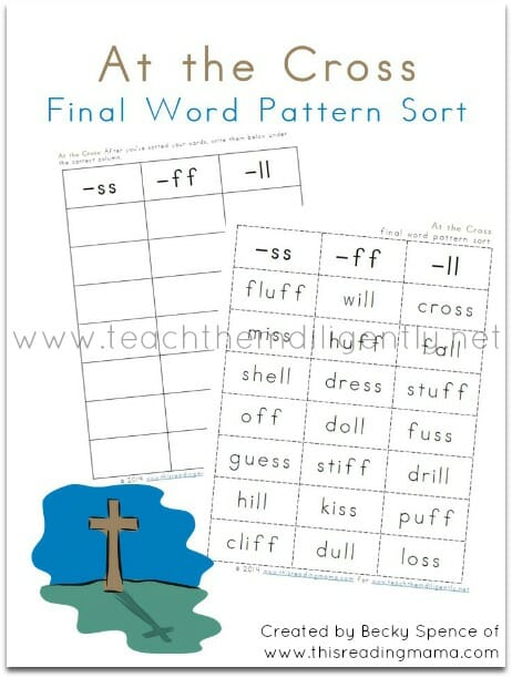 At the Cross - a FREE Final Word Pattern Sort | Teach Them Diligently
