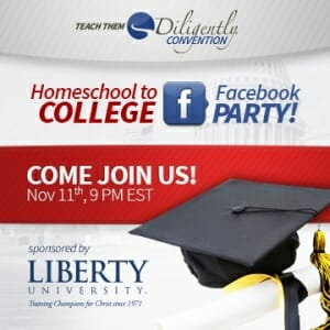 Homeschool To College Facebook Party Tonight!