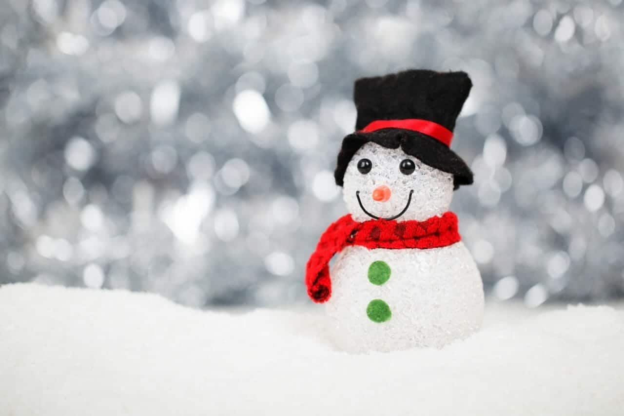 snowman in the snow hand made