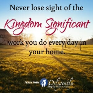 Never Lose Sight of the kingdom significant